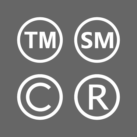 Copyright, registered, trademark, smartmark icons set Vector illustration Illustration