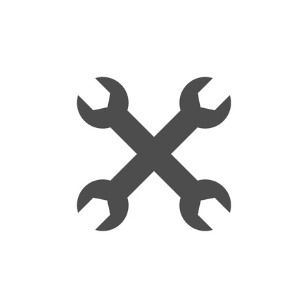 Wrench icon. Vector illustration, flat design On white