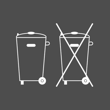Crossed-out garbage can, sign. No trash bin icon. Container recycle. Vector illustration. White on grey Illustration
