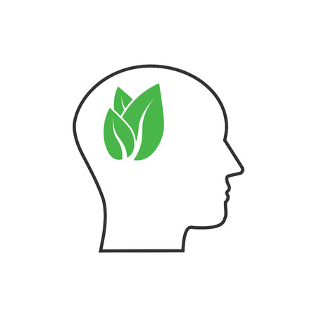 Vector illustration, flat design. Head eco thinking icon Banque d'images - 119696824
