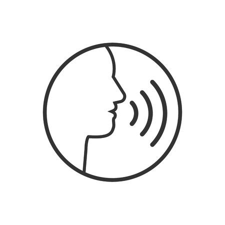 Vector illustration, flat design. Head talk speaking icon Illustration