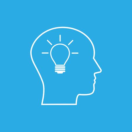 Vector illustration, flat design. Head idea icon Stockfoto - 119696913
