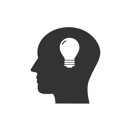 Head, bulb, idea icon Vector illustration flat