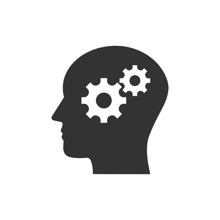 Vector illustration, flat design. Head, gear solution idea icon
