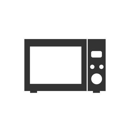Vector illustration, flat design. Home appliance, kitchen microwave icon Ilustração