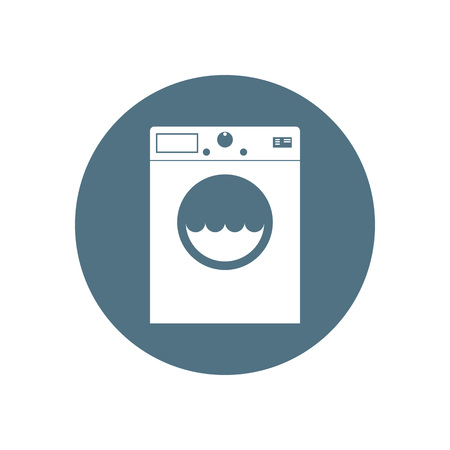 Vector illustration, flat design. Washing machine icon