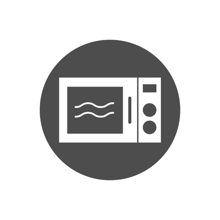 Vector illustration, flat design. Home appliance, kitchen microwave icon
