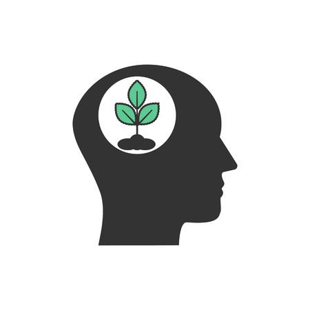 Vector illustration, flat design. Head eco thinking icon