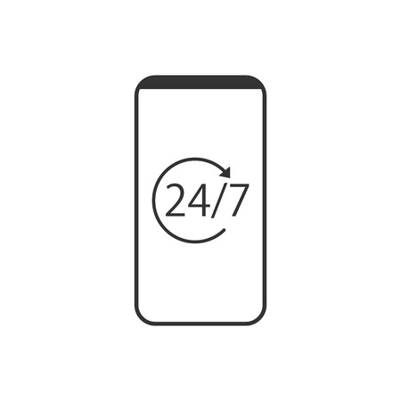Vector illustration, flat design Call center 24-7
