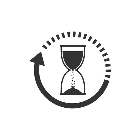 Hourglass, sand time icon flat vector