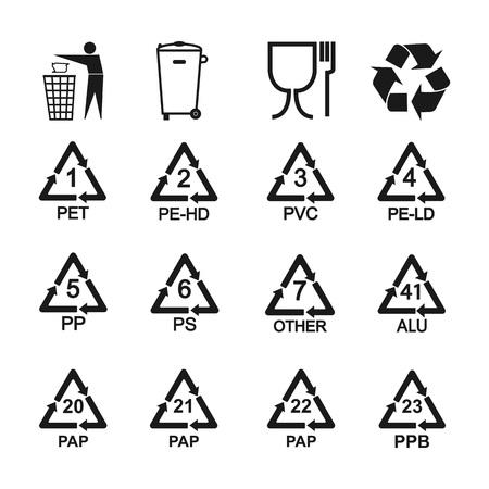 Set di icone di riciclaggio degli imballaggi. Illustrazione vettoriale, design piatto.