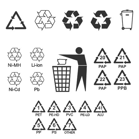 Ensemble d'icônes de recyclage d'emballage. Illustration vectorielle, design plat. Vecteurs