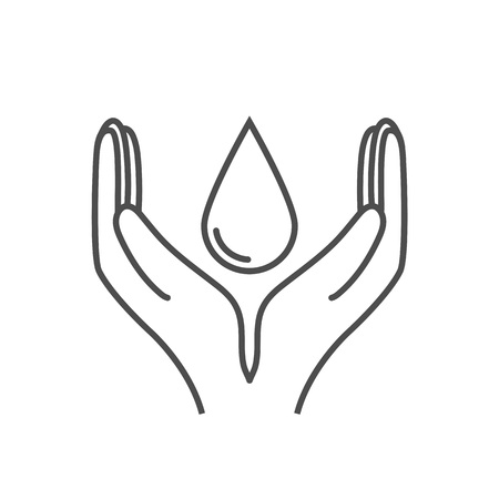 Save water sign. Hand holds water drop icon. Vector illustration, flat design.