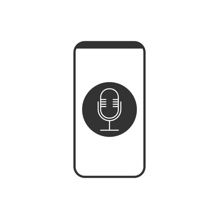 Vector illustration, flat design. Smartphone microphone voice recorder