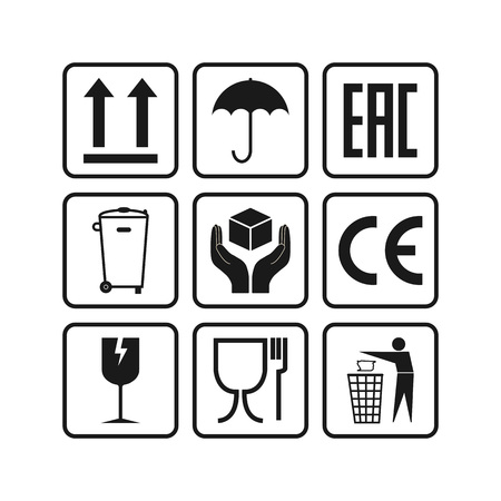 Vector illustration, flat design. Packaging icons, package signs set