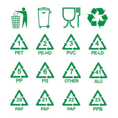 Illustration vectorielle, design plat. Ensemble d'icônes de recyclage d'emballage