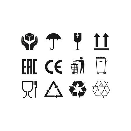 Ilustracja wektorowa, Płaska konstrukcja. Ikony opakowań, zestaw znaków pakietu