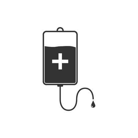 Vector illustration, flat design. Blood bag icon