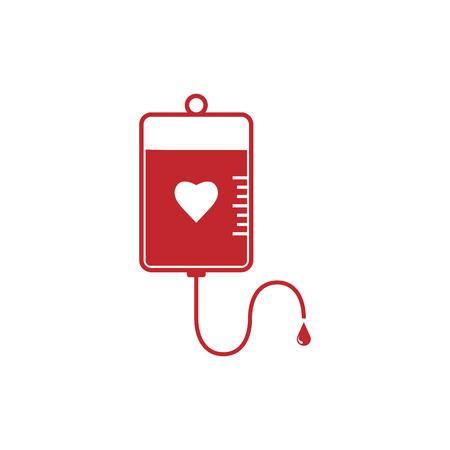 Vector illustration, flat design. Blood bag icon