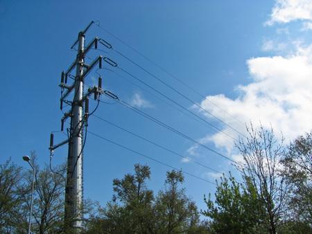 Power line support, insulators wires Foto de archivo