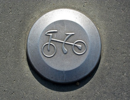 Bicycle pictogram on bicycle track. grey 写真素材