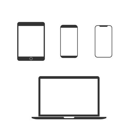 Illustrazione vettoriale, design piatto. Set di icone di dispositivi elettronici