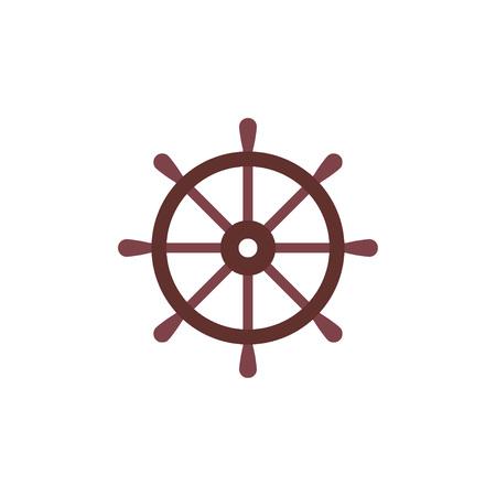 Vector illustration, flat design. Ship steering wheel Vector Illustration
