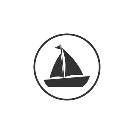 Boat, sail, sailing, ship yacht icon Vector illustration flat