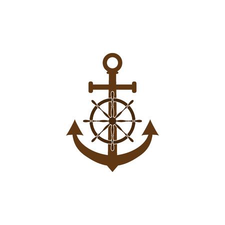 Vector illustration, flat design. Ship steering wheel, anchor icon