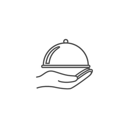 Covered food tray, hand icon. Vector illustration flat