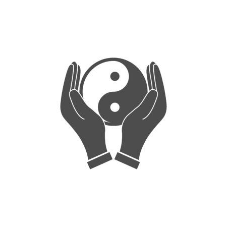Vector illustration, flat design. Hands holding yin yang icon