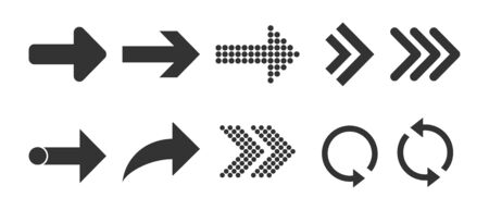 Vector illustration, flat design. Arrow icon set