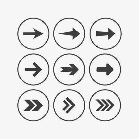 Vector illustration, flat design. Arrow icon set 向量圖像
