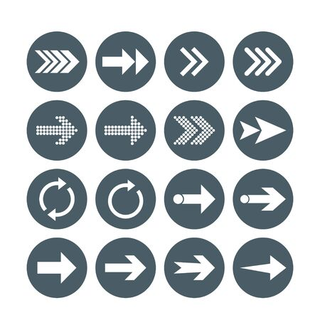 Vector illustration, flat design. Arrow icon set 向量圖像