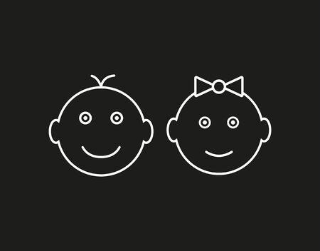 Vector illustration, flat design. Child baby icon Illustration