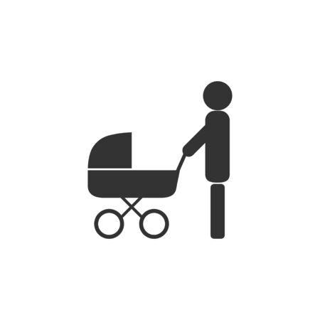 Vektorillustration, flaches Design. Vater Kinderwagen-Symbol Vektorgrafik