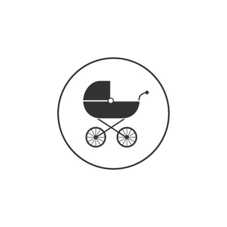 Vector illustration, flat design. Baby, carriage, buggy pram stroller wheel icon
