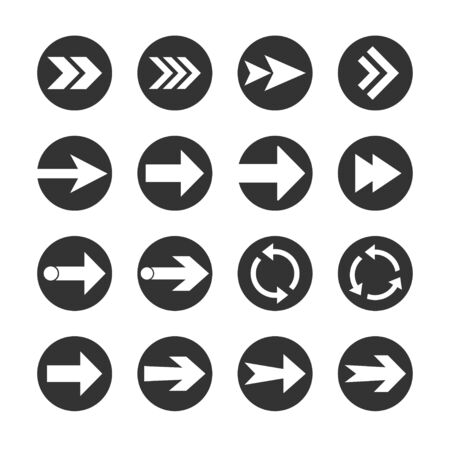 Arrow icon set. Vector illustration, flat design.