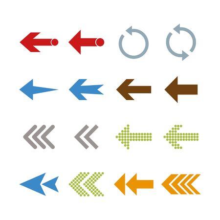 Arrow icon set. Vector illustration, flat design.