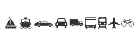 Vector illustration, flat design. Transports delivery icons