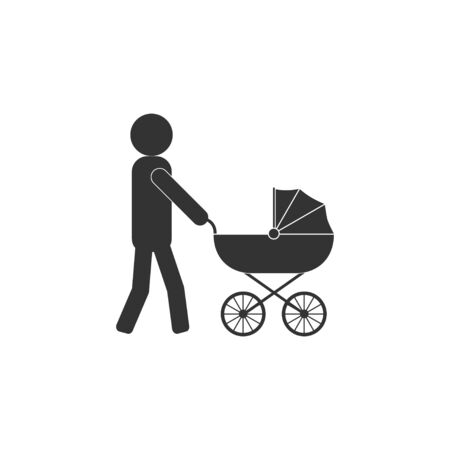 Vector illustration, flat design. Father stroller icon