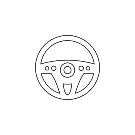 Vector illustration, flat design. Car steering wheel icon. Foto de archivo - 129125501