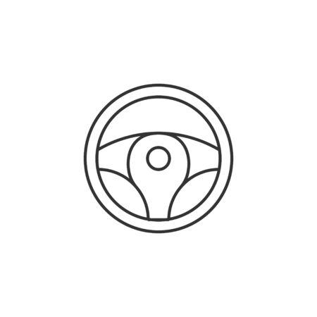 Vector illustration, flat design. Car steering wheel icon. Foto de archivo - 129125584