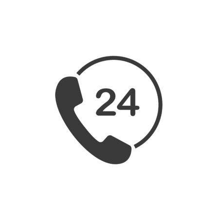 24, call, support shopping icon Vector illustration flat