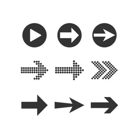 Vector illustration, flat design. Arrow icon set Çizim