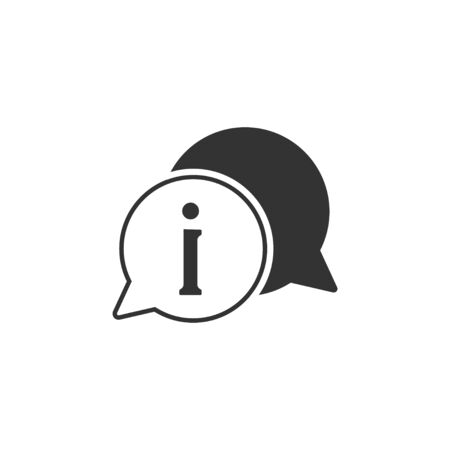 Vector illustration, flat design. Exclamation info mark icon