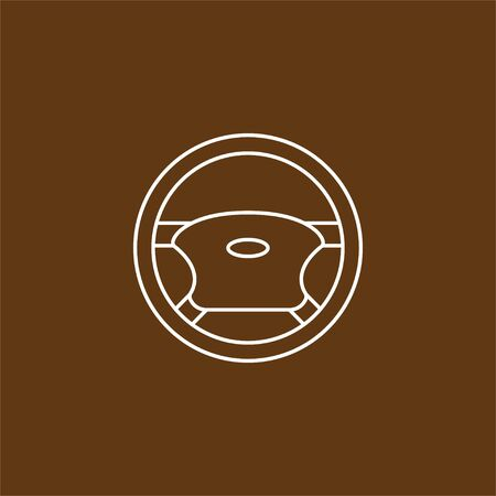 Vector illustration, flat design. Car steering wheel icon. Illustration