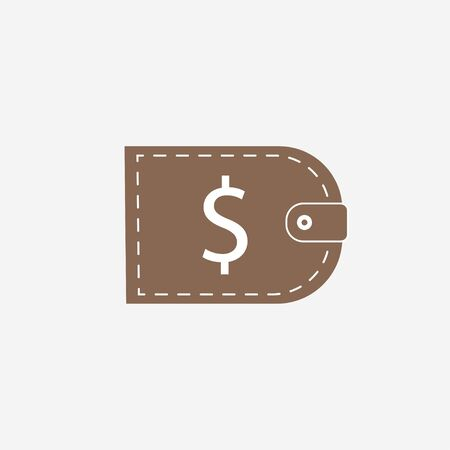 Vector illustration, flat design. Dollar purse wallet icon
