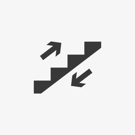 Vector illustration, flat design. Stair stairwell up icon