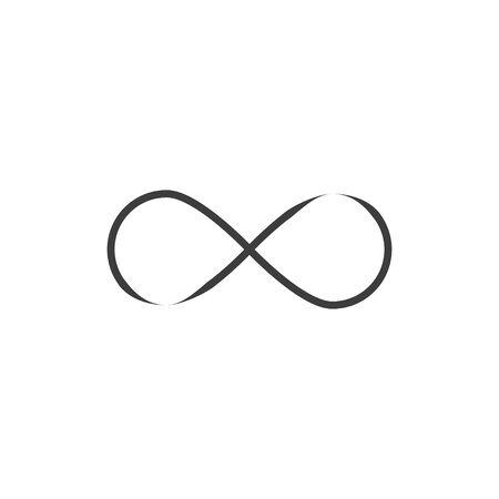 Vector illustration, flat design. Limitless infinity icon Çizim